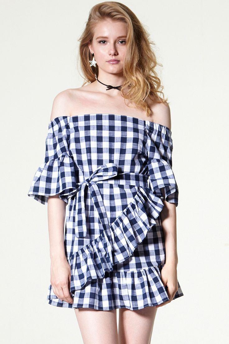 Bernadette Off-the-Shoulder Gingham Dress Discover the latest fashion trends online at storets.com