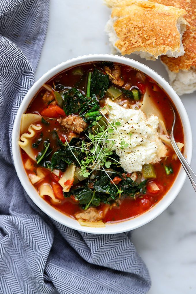 This vegetarian lasagna soup is hearty and filling without being laden with calories like a traditional lasagna. Easily adapted to be vegan too!
