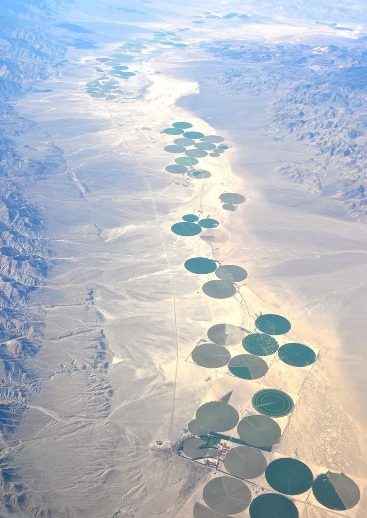 Center-pivot irrigation fields in Death Valley.