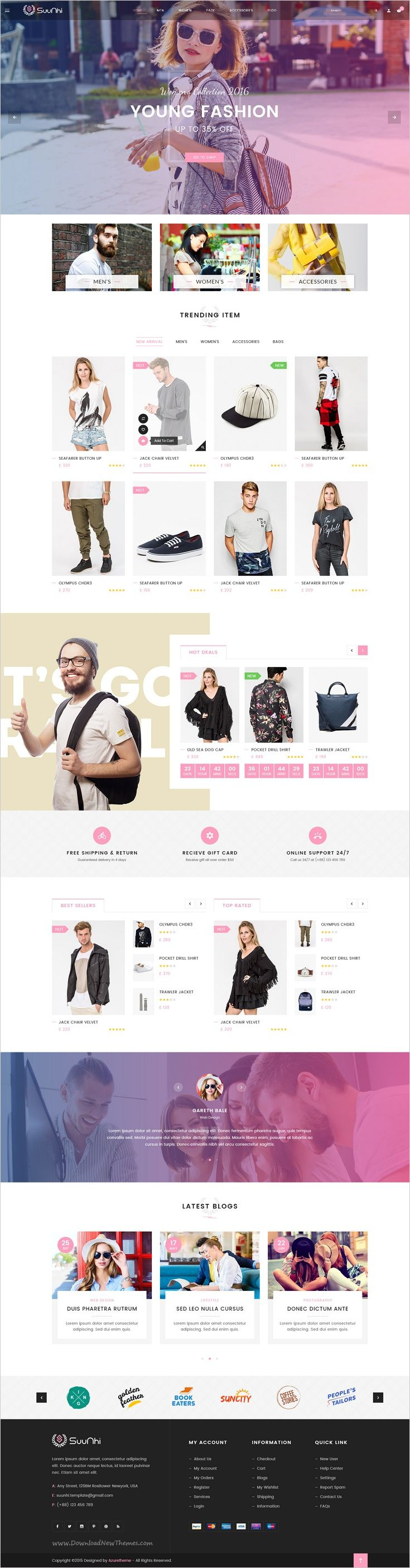 Suunhi is a simple, clean and clear style #Photoshop template for multipurpose #clothes #shop eCommerce website with 6 unique homepages and 16 organized PSD pages download now➯ https://themeforest.net/item/suunhi-ecommerce-psd-template/17184929?ref=Datasata