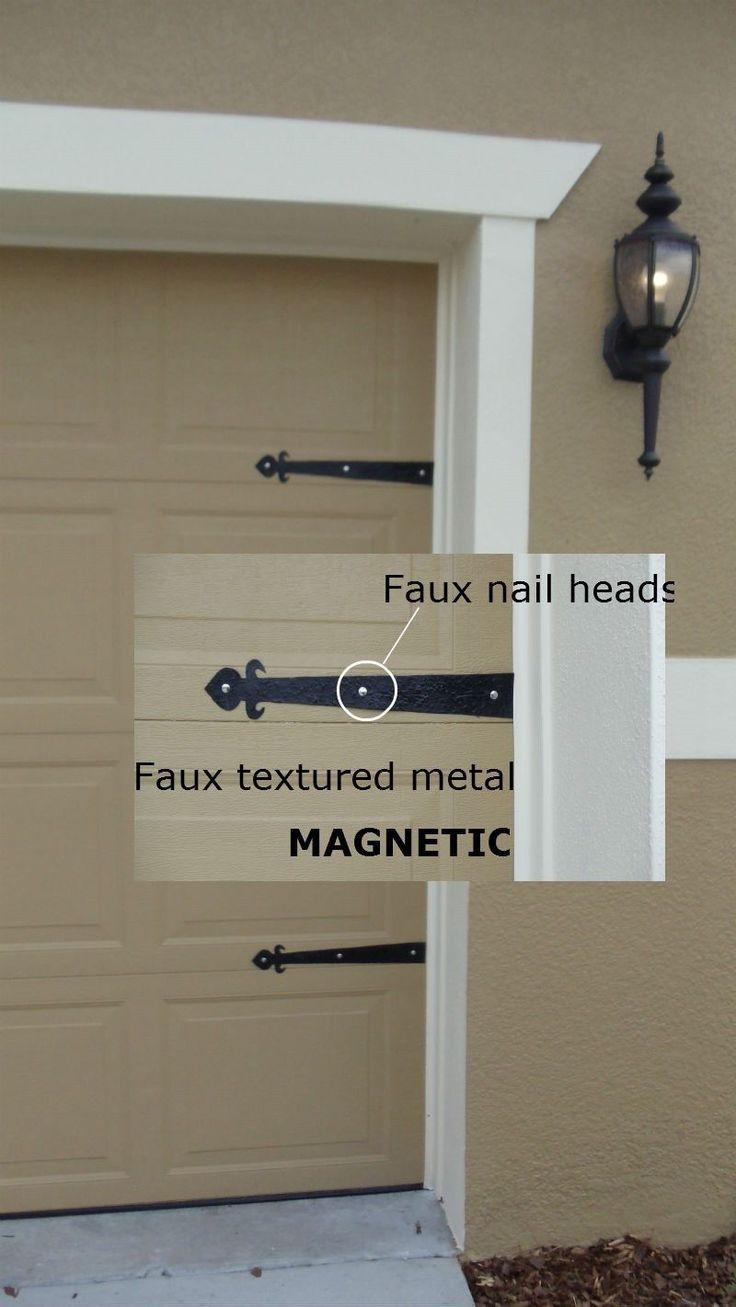 Magnetic Garage Door Decorative Hardware Kit Hinges Fleur de Lis Carriage House | eBay