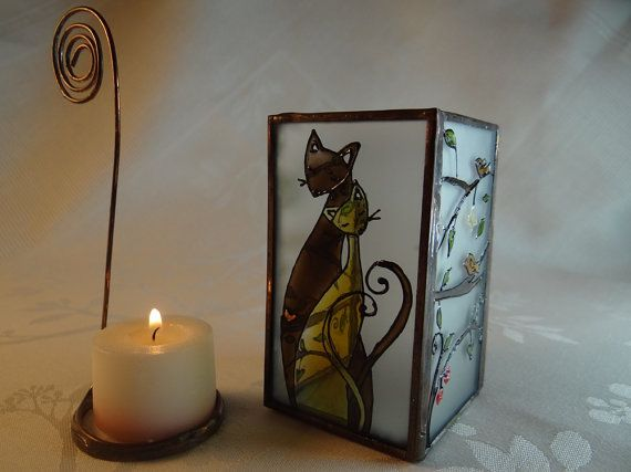 Cat Lovers Painted Glass Candle Holder by KorinArt on Etsy