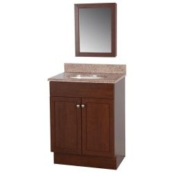 wrap vanity in auburn with vanity top in sienna and medicine cabinet