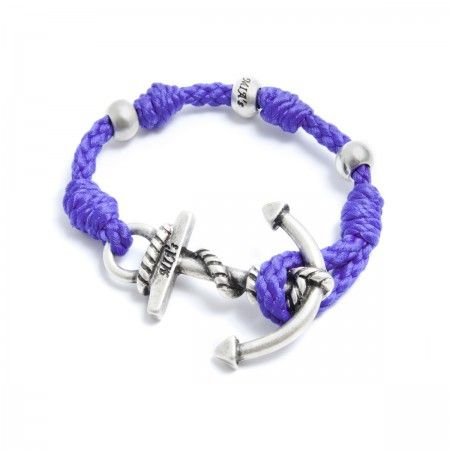 Adjustable Bracelet (up to 22 cm) spheres and anchorto choose between silver or gold. Bracelet Color: Purple Made in Italy