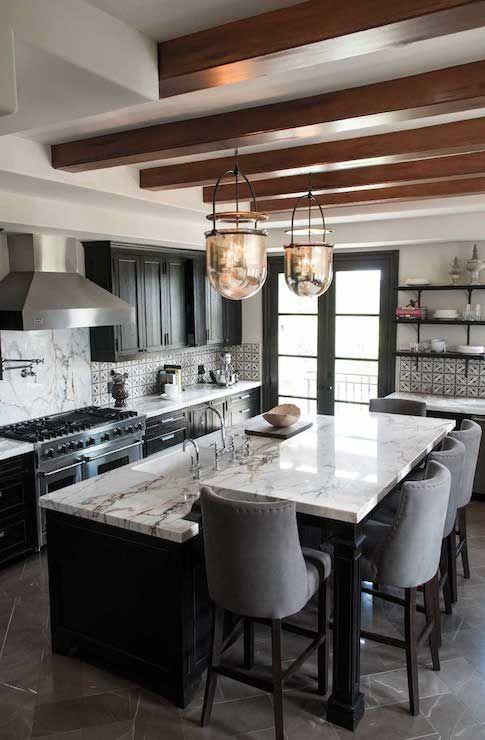 kitchens - Urban Smokebell, black cabinets, black kitchen cabinets, black and white kitchen, black kitchen island, black center island, rais...