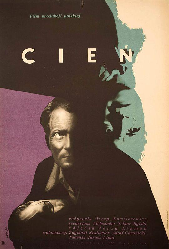 """Poster design by Wojciech Zamecznik for 1956 film """"Cien"""" (""""Shadow"""")."""