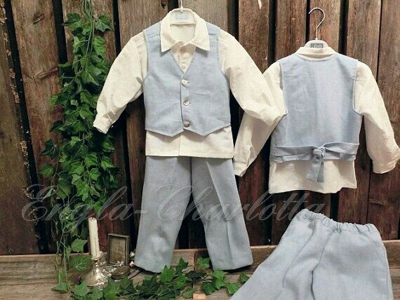 Light blue ring bearer outfit.Boys linen suit.Rustic ring bearer suit.Country wedding.Boys formal wear.