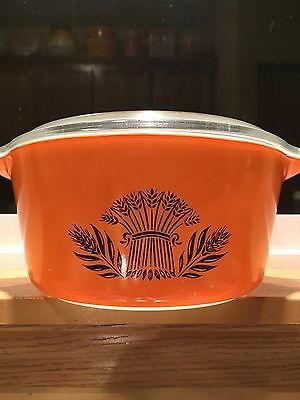 RARE-Vintage-Pyrex-Sunset-Wheat-474-with-RARE-lid