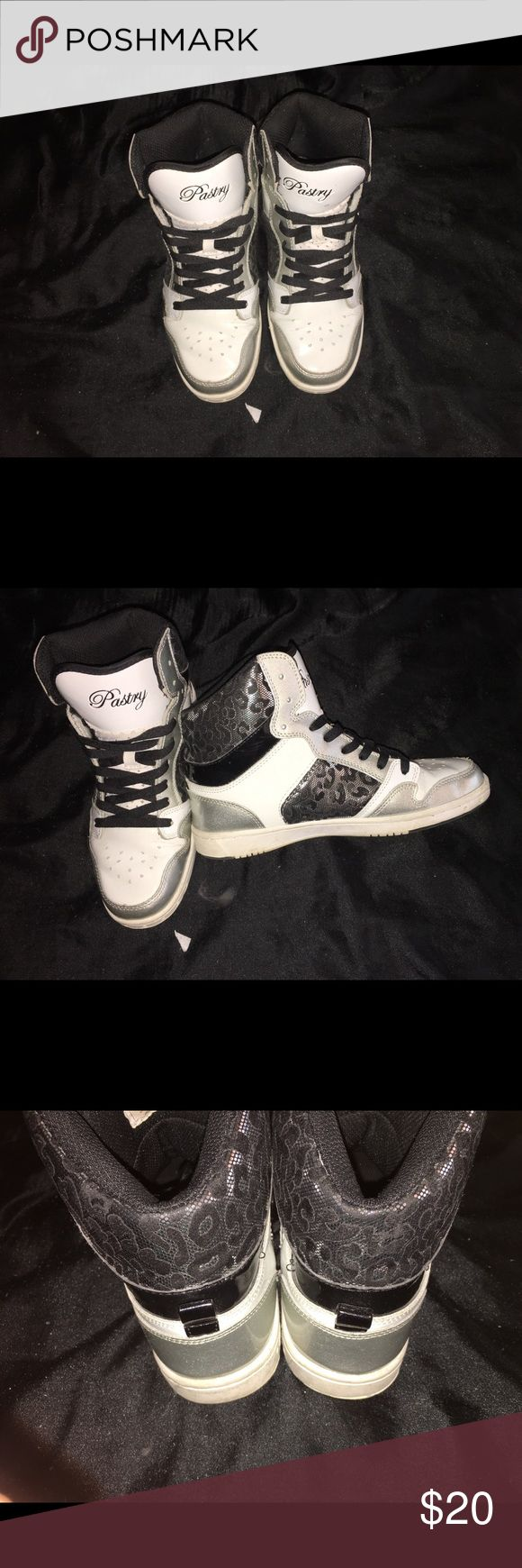 Pastry Shoes White & Silver Leopard Print pastry Shoes Sneakers