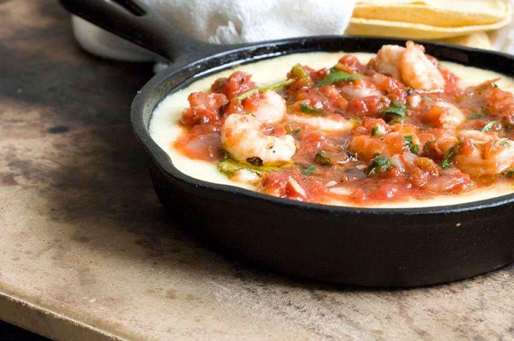 Shrimp queso flameado with ranchera salsa | Homesick Texan