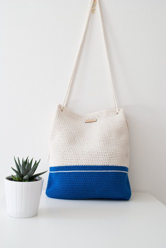 """Crochet bag My Lovely Bag """"Athens"""" blue and white  by MyLovelyHook"""