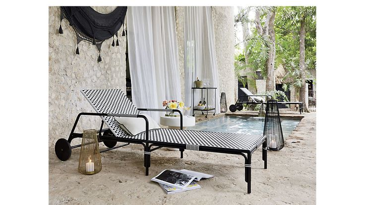 caprice resin wicker chaise lounge chair | CB2