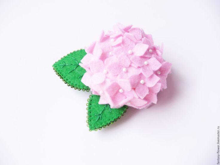 """Купить Брошь """"Гортензия"""" розовая - розовый, брошь, брошь ручной работы, брошь цветок"""