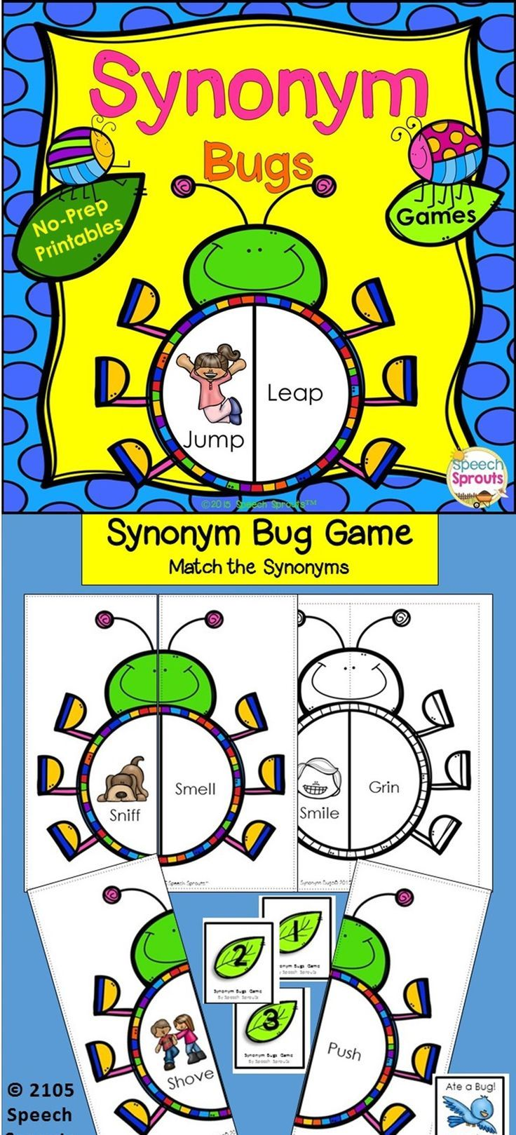 Call out a word, & students swat the bug with the synonym! Have your kids buzzing about synonyms this spring with these fun activities. Grab a flyswatter and be the first to swat the matching synonyms as you build your bug collection in the Synonym Swat Game! See how many bugs you can build in Synonym Bugs! Grab the hole puncher and eat through some leaves as you find synonyms in Synonym Crunch! 15 no-prep interactive activities for your classroom/ speech therapy room, or home practice
