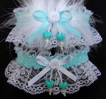 Disarming With An Unbreakable Spell Prom Garter Set In White And AQUA