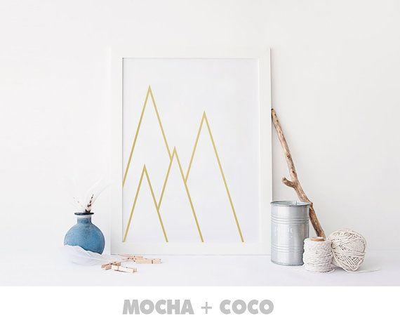 Geometric Triangle Mountain Poster | Geometric Wall Art, Startup Minimal Decoration, Printable Mocha + Coco, Intstant PRINT FILE DOWNLOAD