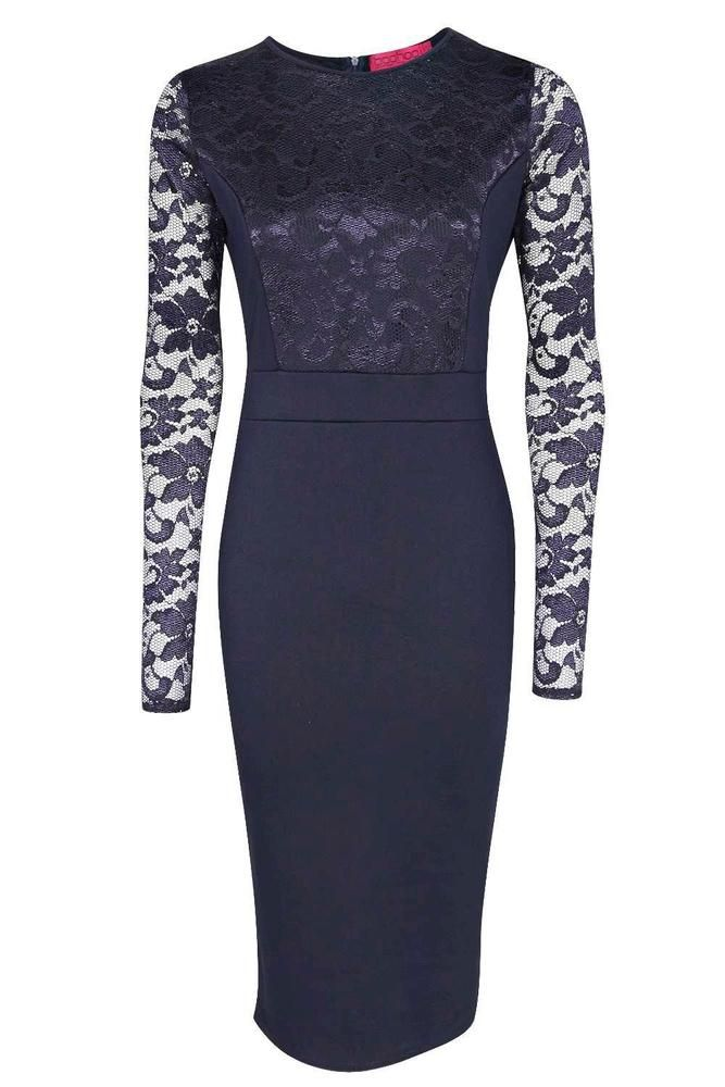 79446541c05 Boohoo Lace Long Sleeve Bodycon Midi Dress Blue Size UK 10 rrp 20 DH180 ZZ  03  fashion  clothing  shoes  accessories  womensclothing  dresses (ebay  link)