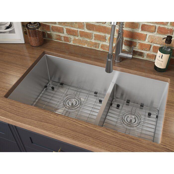 Tirana Low Aqua 33 L X 19 W Double Basin Undermount Kitchen Sink In 2020 Undermount Kitchen Sinks Stainless Steel Kitchen Sink Sink
