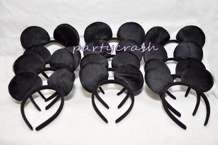 12 Pcs Mickey Mouse Ears Headband Plush All Black Costume Mickey Party Favor