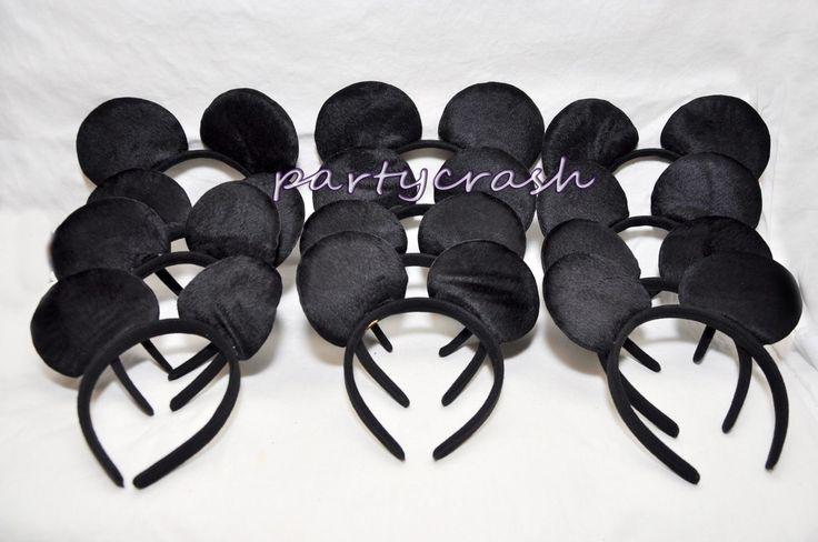12 Pcs Mickey Mouse Ears Headband Plush All Black Costume Mickey Party Favor