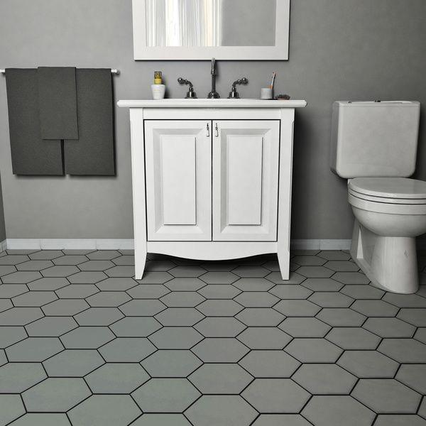 SomerTile 7x8-inch Hextile Matte Grey Porcelain Floor and Wall Tile (Case of 14)