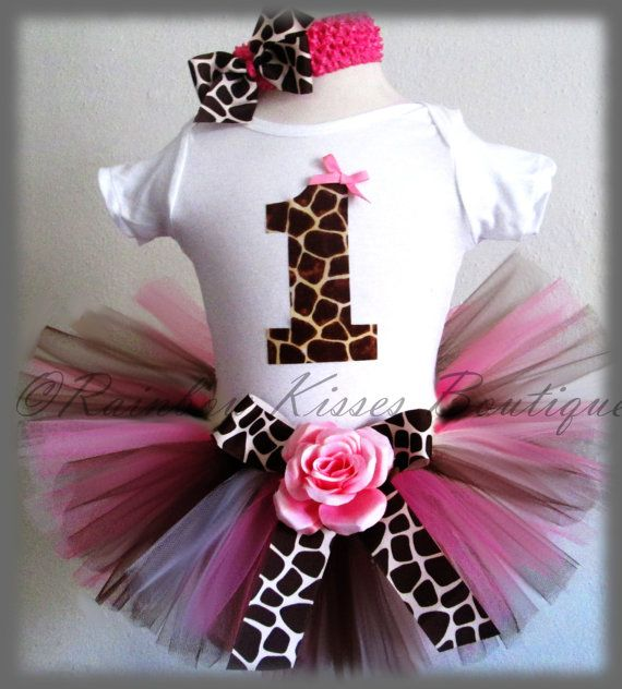 1st Birthday Giraffe Tutu Outfit Birthday Tutu Set by RBKBoutique, $38.00