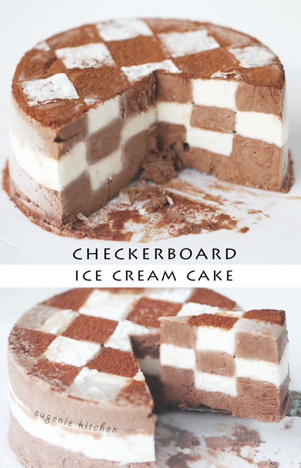 You could play checkers...or just eat an ice cream cake checkerboard. Get the recipe from Eugenie Kitchen.   - Delish.com