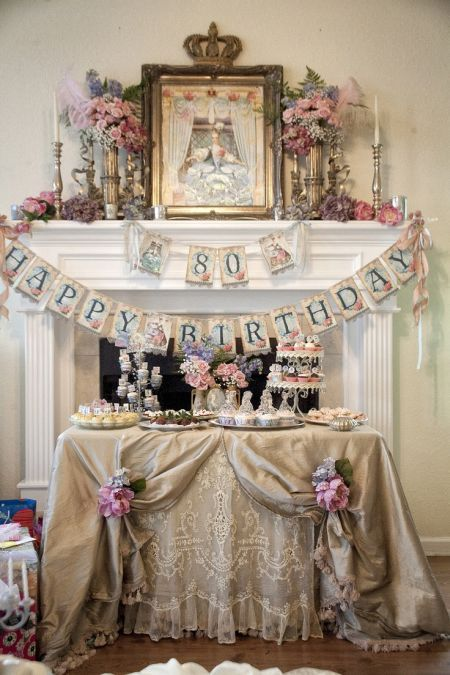 80th birthday decorations fit for a queen. See more decorating and party ideas at one-stop-party-ideas.com.
