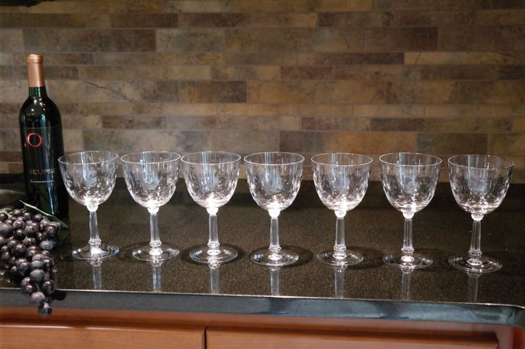 Vintage FOSTORIA Spinet,  Etched Champagne Coupe Cocktail Martini Wine Glasses, Water Goblets,  Set of 7 by Antiquevintagefind on Etsy