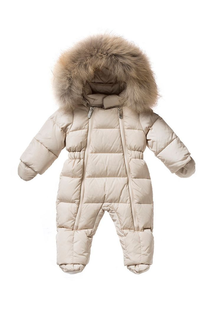 Italian Luxury DOWN-FILLED SNOWSUIT WITH FUR IN BEIGE AND SAND | Il Gufo
