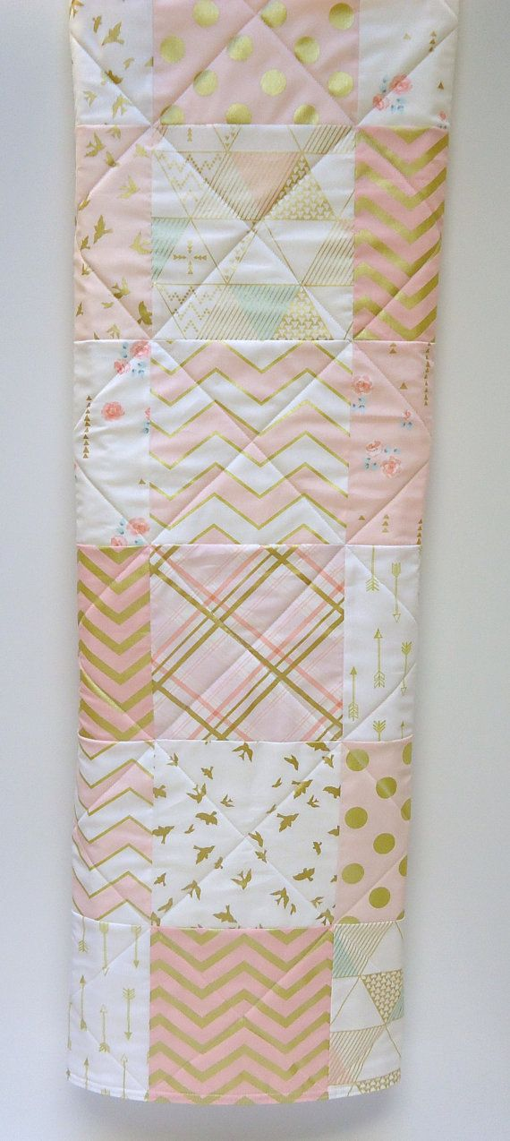 Gold and Pink Baby Quilt-Modern-Coral Brambleberry Fabrics-Gold Shimmer-Chevron…