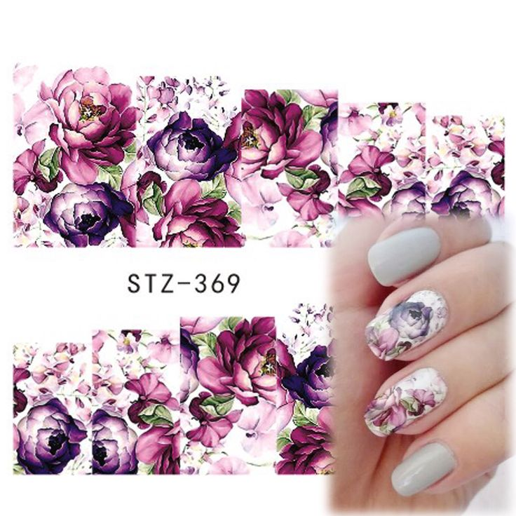 1 stks Hot Beauty Nail Art Decals Bloemen Ontwerpen Paars Rose Volledige Cover Tips Volledige Patch Nail Sticker Decoratie Gereedschap STZ369