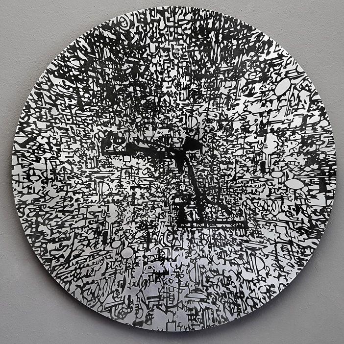 Stefan Blom 'into the light fantastic' 580mm diameter, acid etched on aluminium