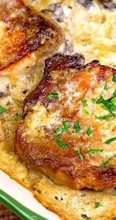 Pork Chops & Scalloped Potatoes Casserole ~ The pork chops and scalloped potatoes cook all in one casserole!