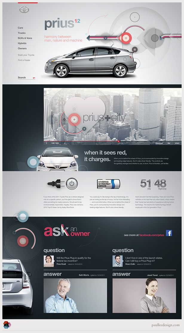 Simple but effective way to highlight side nav without border (note the red bar on top of the logo). Slightly covered images of the car and people, and design elements spanning different sections of the site create a sense of anticipation/connectivity and out-of-the-box feeling within a grid layout.
