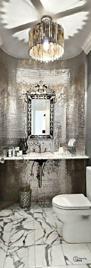 Décoration intérieure / Salle de bain bathroom / Argent silver / Métal / Strass…