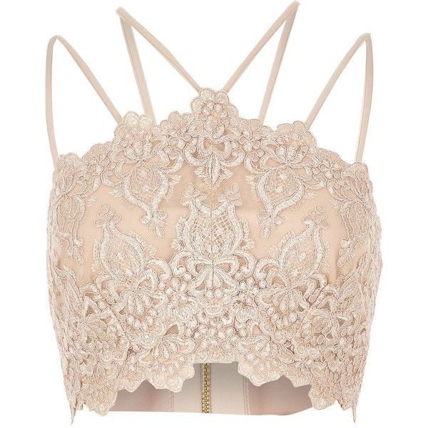 River Island Beige cornelli bralet (£36) ❤ liked on Polyvore featuring tops, crop tops, shirts, cream, beige top, crop top, bralet crop top, pink top and bralette tops