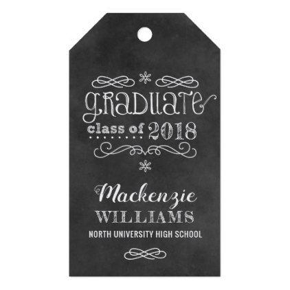 Graduate Class of 2018   Black Chalkboard Favor Gift Tags - graduation gifts giftideas idea party celebration