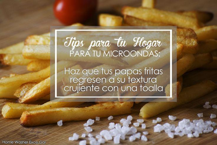 TIPS PARA TU HOGAR Para tu microondas: Coloca las patatas en una toalla dentro del microondas, para que la toalla absorba la humedad y consigue que esas chips vuelvan a ser crujientes una vez más.