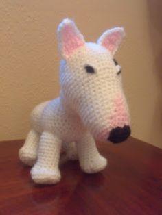 Perro Bull Terrier Amigurumi - Patrón Gratis en Español aquí: http://tallerdemao.blogspot.com.es/search/label/Bull%20Terrier%20(P)?m=0