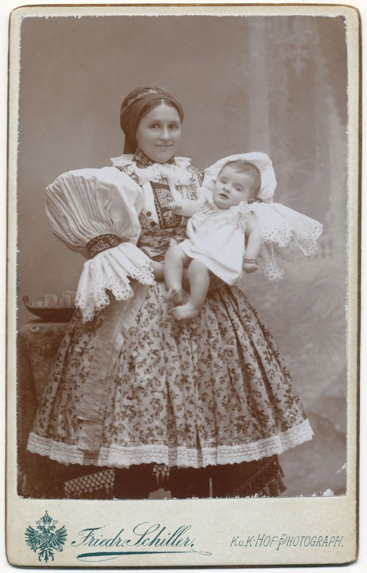 Moravian Folk Costume, Antique Victorian Photo, Beautiful Czech Fashion, Lace and Embroidery  For Sale at Anemone Antiques on Ruby Lane