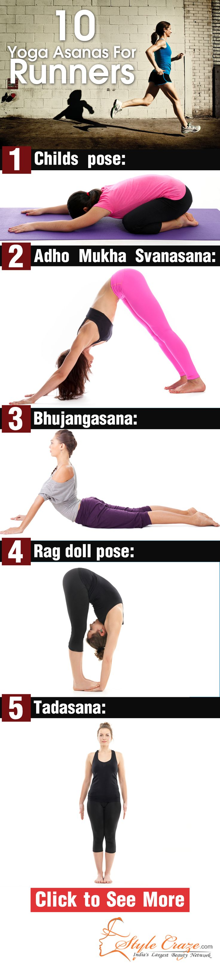 Running is a tough workout and to keep in shape for it many practice yoga too. Here are the poses that are included in the yoga for runners module. | See more about runners, yoga and children poses.