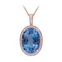 London Blue Topaz and 1/3 ct. tw. Diamond Pendant in 14K Rose Gold