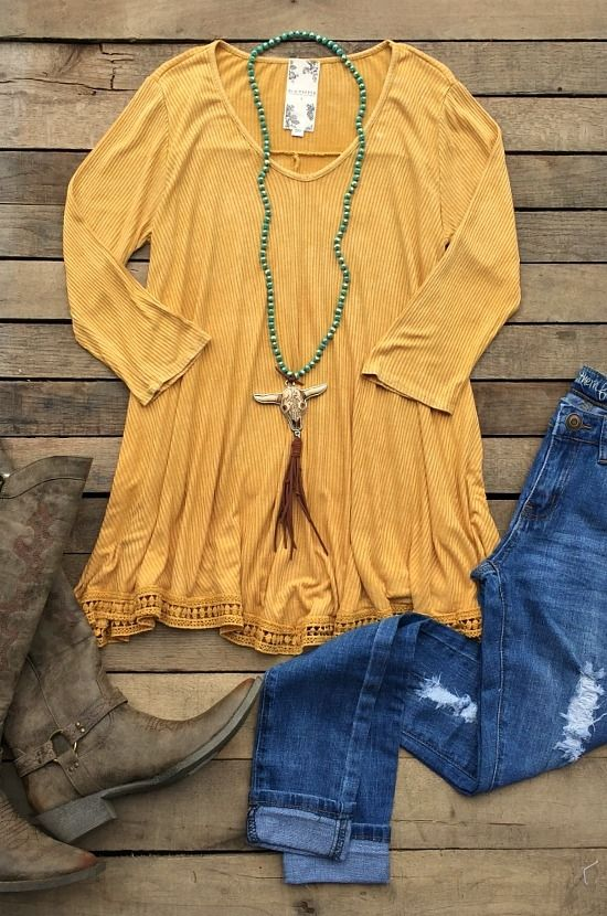Don't Stress It Top- Mustard $40.99! #comfy #western #msutard