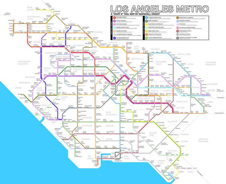 "Los Angeles ""What If"" Metro Rail Map (UPDATED with feedback). By Marshall Knight. Los Angeles Fantasy Metro Subway rail map."