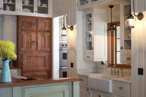 "Great cottage kitchen... love the old ""ice box"" look cabinet-front subzero refrigerator."