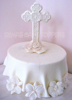 CROSS CAKE TOPPER Baptism Christening CROSS Centerpiece favors decorations baby