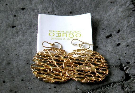"Brass Earrings ""Fiber"" yellow gold plated / Orecchini in ottone ""Fibra"" / Boucles d'oreilles en laiton ""Fibre"" #jewels #bijoux #gioielli #EmblemaOpificio"