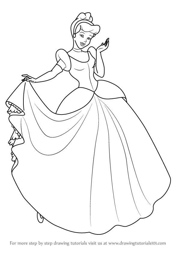 Learn How To Draw Princess Cinderella Cinderella Step By
