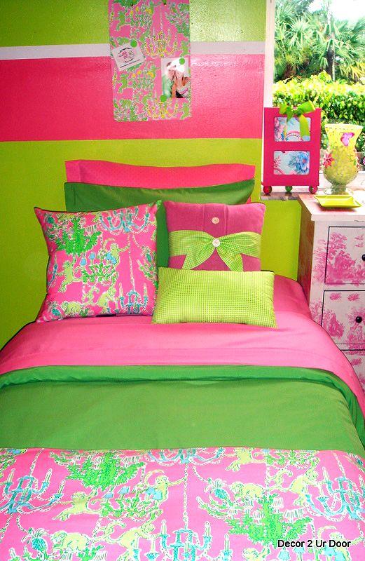 Pink And Green Stripe Custom Dorm Bedding Preppy Pinterest Room